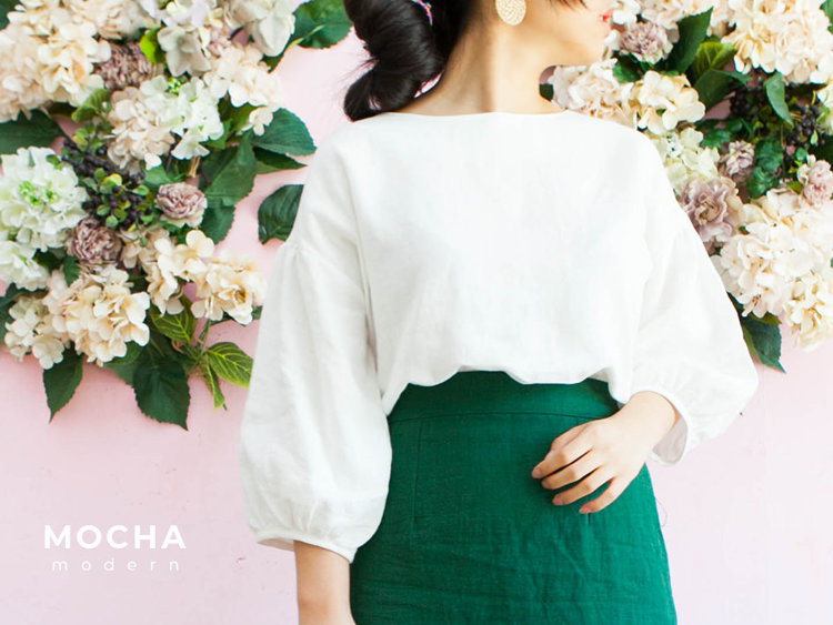 """Picture of MOCHA Puff Sleeve Blouse (Size 2-22) PDF Pattern - 4 Kinds of Paper(A4, US Letter, A0, 36""""x48"""")"""