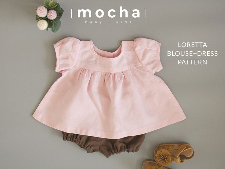 Picture of (3M-24M) Loretta  Baby Dress and Blouse PDF Pattern
