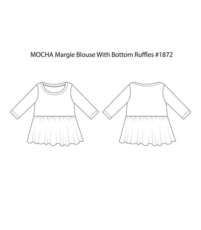 """Picture of MOCHA Margie Blouse With Bottom Ruffles (Size 2-22) PDF Pattern - 4 Kinds of Paper(A4, US Letter, A0, 36""""x48"""")"""